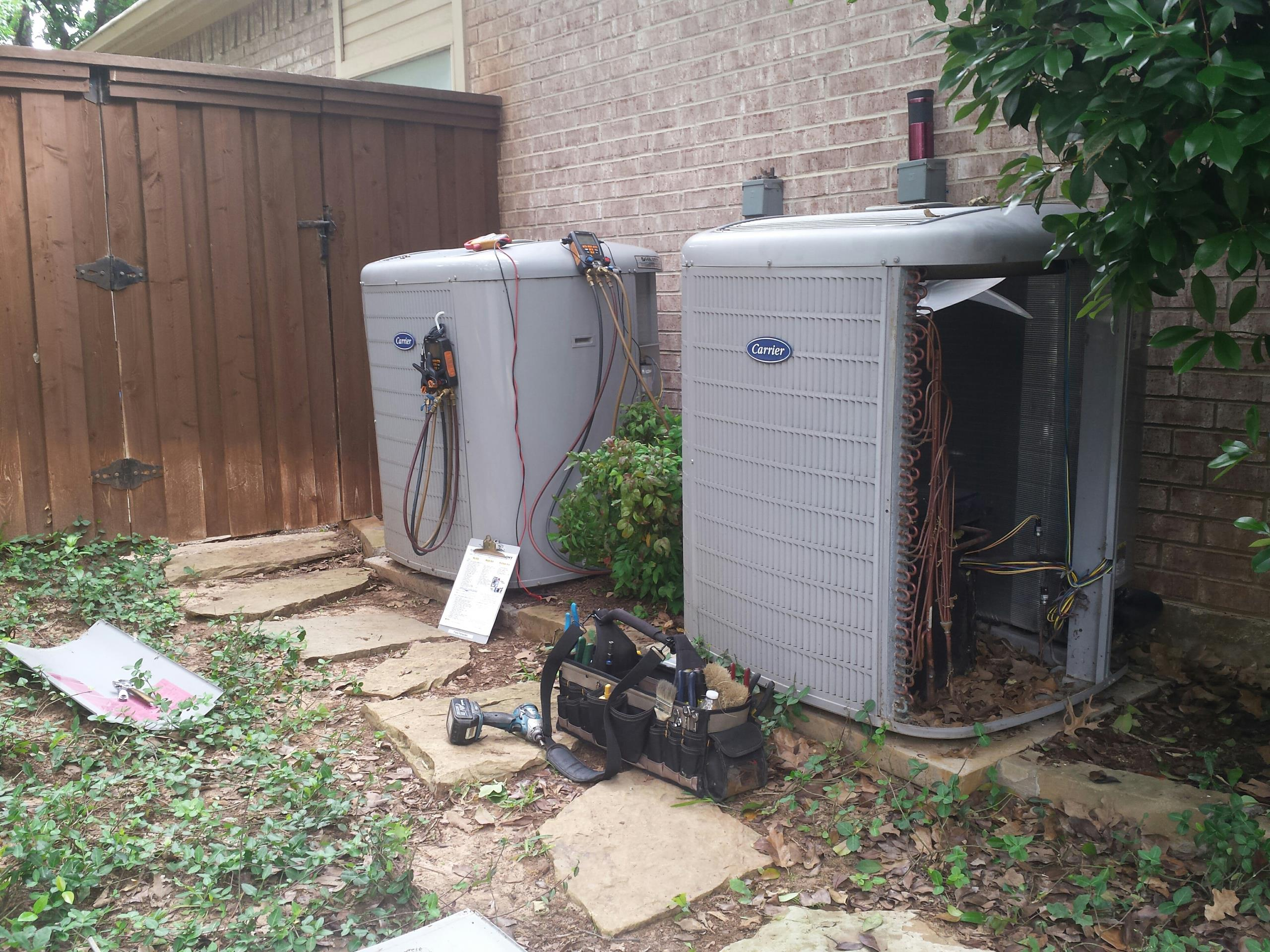 Highland Village, TX -  Air conditioning inspection on 3 CARRIER AC Systems in Highland Village.