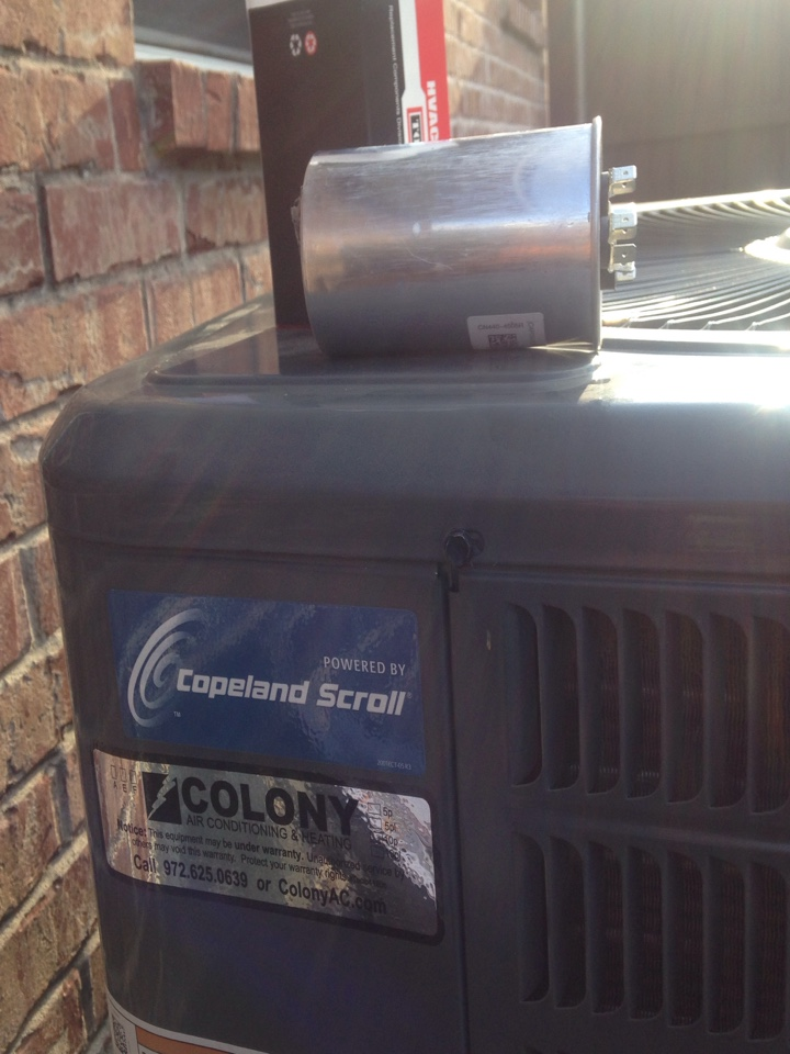 Coppell, TX - Air conditioning service and repair for this great customer.  Our trucks stock the more common parts like the one needed for this Goodman AC