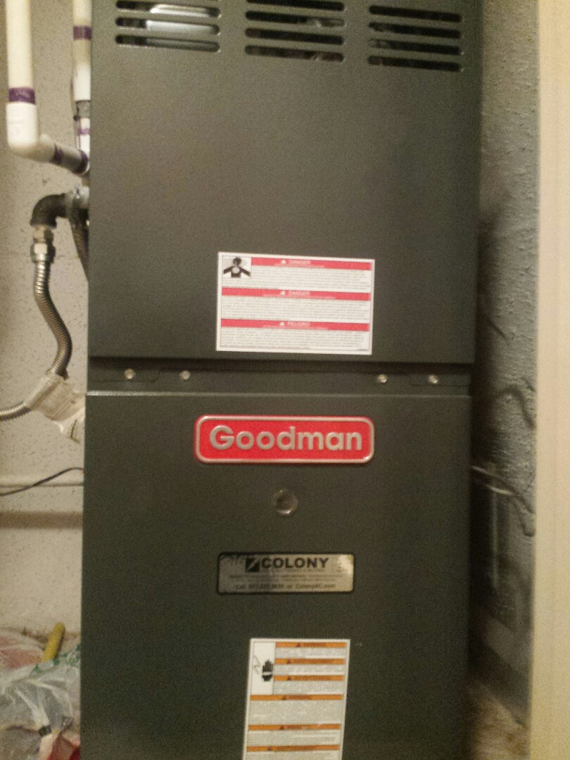 The Colony, TX - Performing seasonal heating tuneup and inspection on a GOODMAN gas-fired furnace in The Colony.