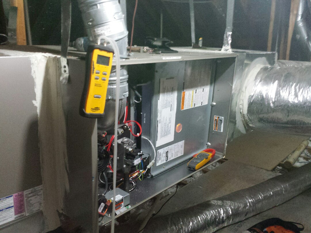 The Colony, TX - Performing seasonal heating tuneup and inspection on a CARRIER gas-fired furnace in The Colony.