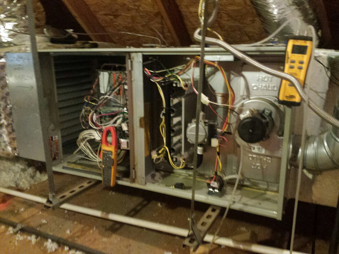 Frisco, TX - furnace service and repair and Performing seasonal heating tune up and inspection on 2 TRANE gas-fired furnaces in Frisco.
