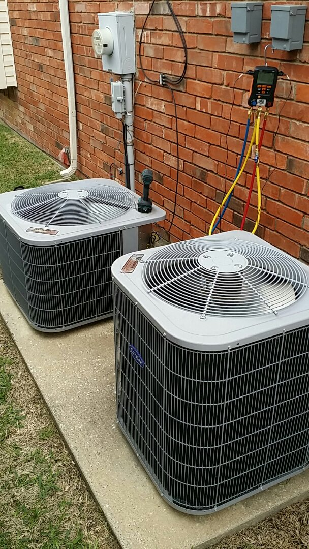 The Colony, TX - Performing A/C tune up and air conditioning inspections on 2 carrier systems