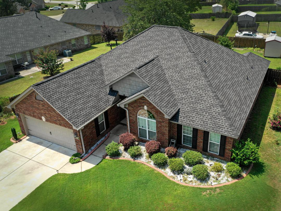Hephzibah, GA - Checking on our clients while drooling gift bags for them. Customer got the insurance to pay for the entire replacement of the roof with our help. Hardly paid any out of pocket