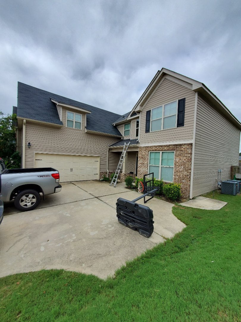 Grovetown, GA - Wind damage caused by storm on July 31st 2019 on property in Grovetown. Meeting with the adjuster from USAA to get the approval for the full replacement