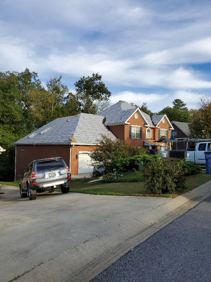 Evans, GA - Full roof replacement paid by the insurance. There was wind damage on this roof which had to be addressed by the insurance adjuster