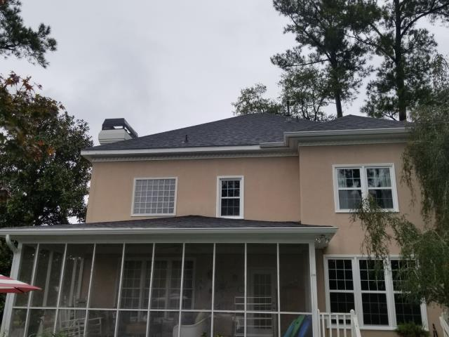 Martinez, GA - New gutter replacement in Martinez, GA featuring a leaf-free system. It included gutter removal and new gutter installation in different sections.