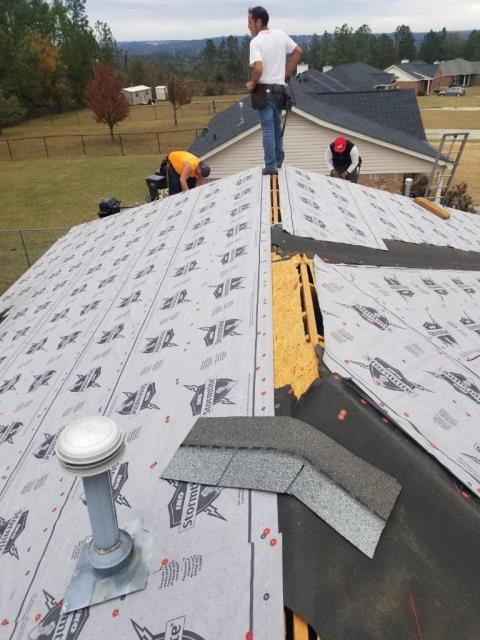 Hephzibah, GA - Roof replacement in Hephzibah! Here you can see the synthetic underlayment we use along with the new cutouts for ridge vents. We not only replaced this roof but upgraded it in terms of quality and ventilation.