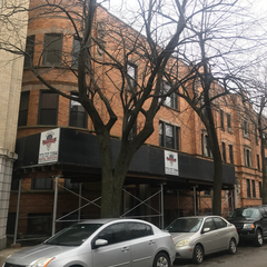 Chicago, IL - We've got our canopy set up and ready to start our tuckpointing project on Surf Street in Chicago for a large property management company.