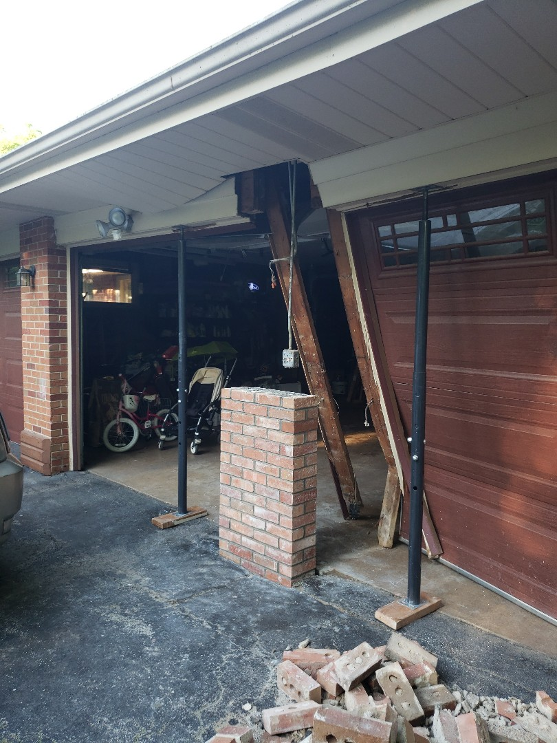 Riverwoods, IL - Fixing a column damage by a car NSBW call us for free quote