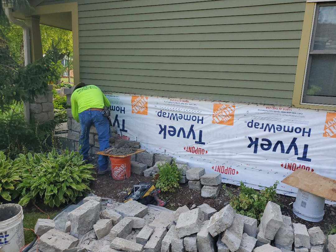 Glenview, IL - Installation of new stone call NSBW for your masonry needs