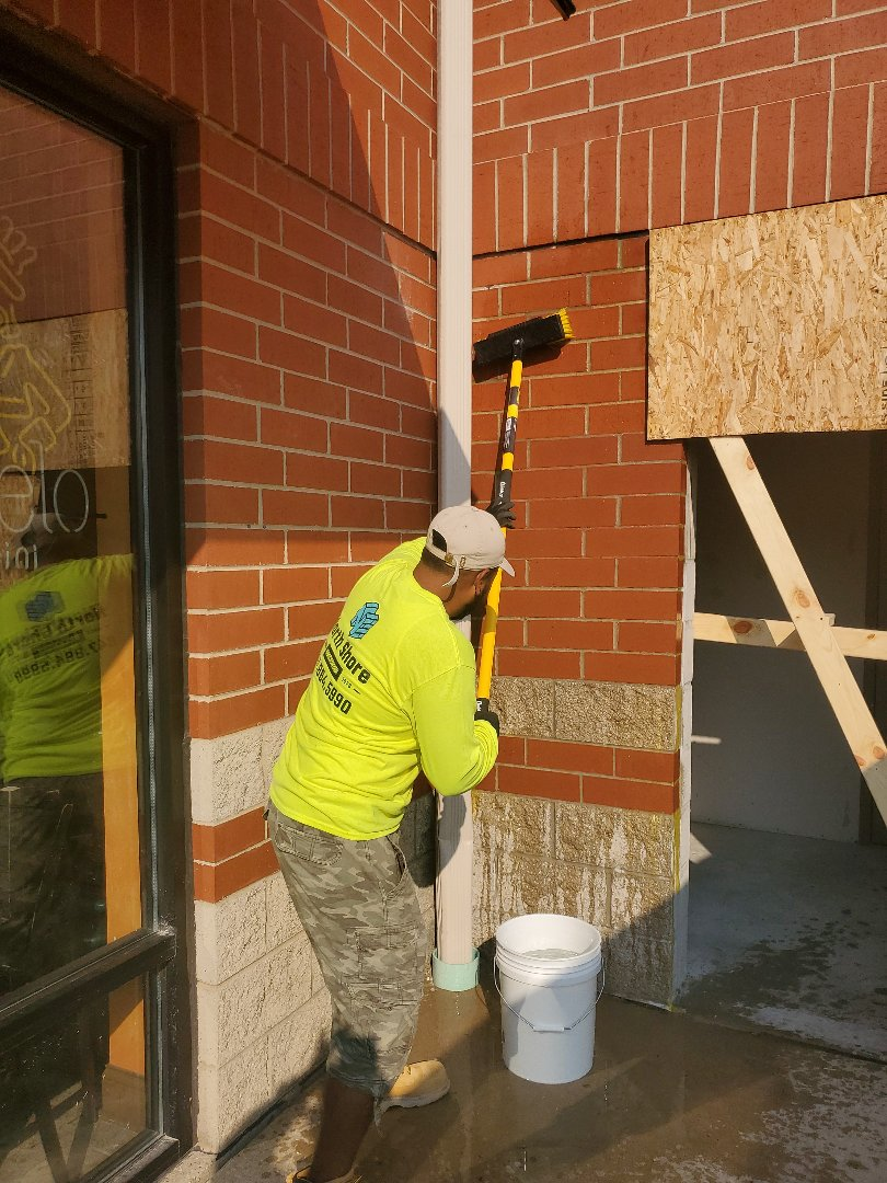 Crystal Lake, IL - Cleaning a masonry wall done by NSBW call us for any masonry needs