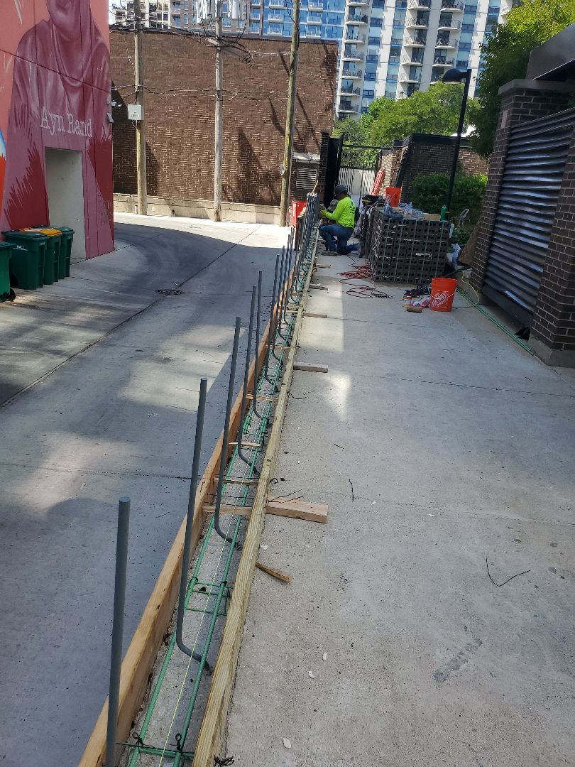 Chicago, IL - Preparing framing to pour concrete for a brick wall call NSBW for any masonry needs