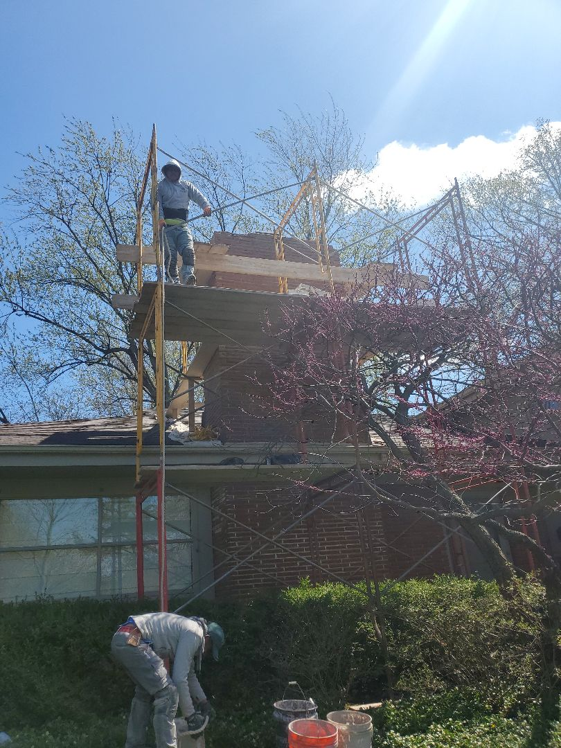 Glencoe, IL - Chimney rebuild and new concrete cap call NSBW for any masonry repairs