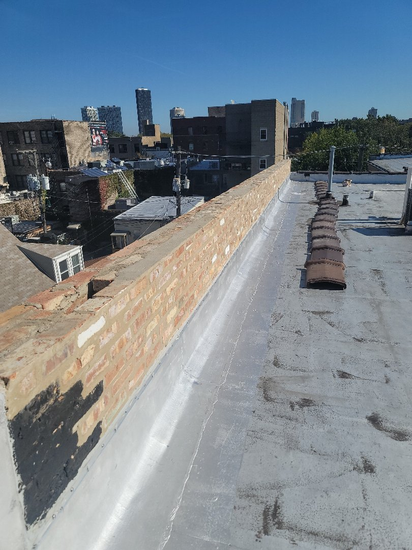 Installation of coping after parapet been rebuild
