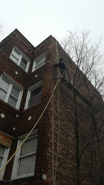 Chicago, IL - Commercial masonry project involving masonry violations repairs, tuck-point, install of new steel lintel where one was missing, cut I-beam out, re-anchor then rebuild masonry for one of the largest Property Management Companies in Chicago.