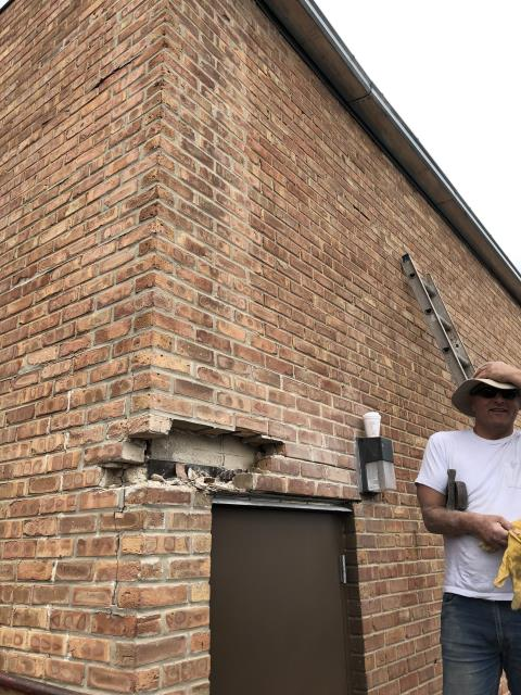 Elk Grove Village, IL - Masonry brickwork project in progress at a commercial building in Elk Grove Village. Removing and replacing deteriorated bricks & tuckpointing, Spring repair season is in full swing. Give us a call to set up your free estimate!