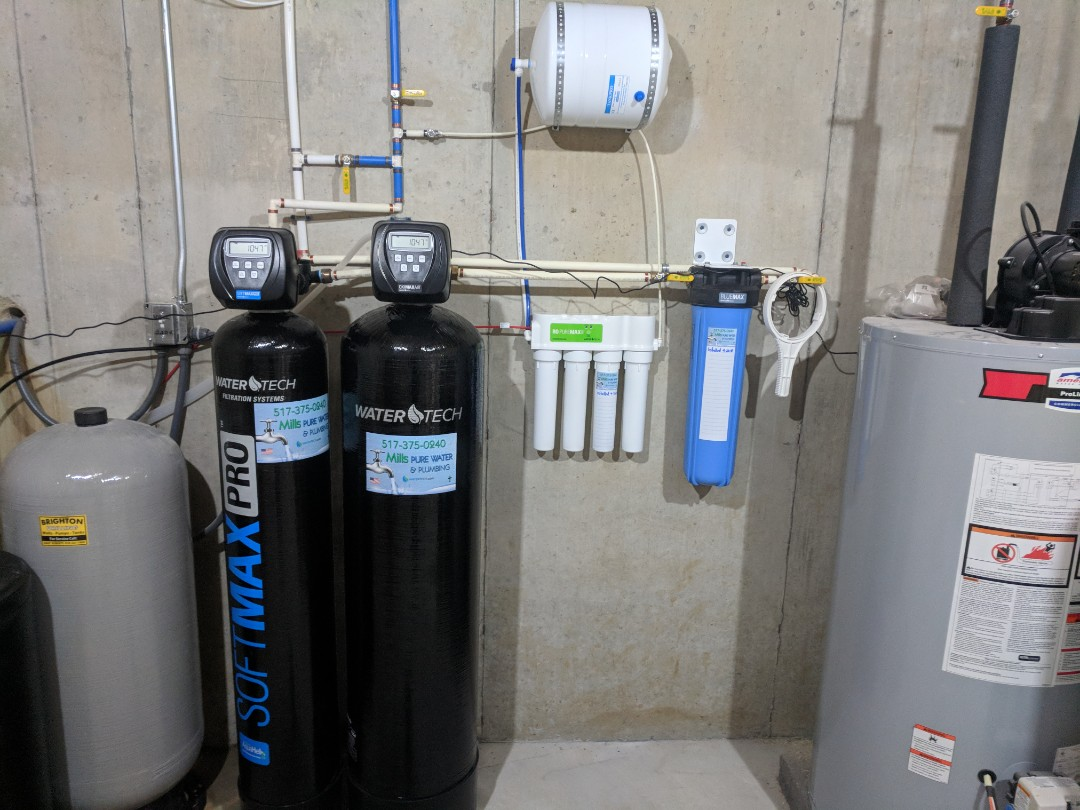 Howell, MI - Install new watertech water filter system water softener and iron removal system smelly rusty water install water heater install bathroom addition