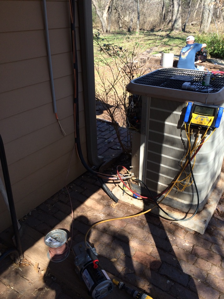 Pauls Valley, OK - Had to move a condenser so they could add on to there house customer is thinking of adding ductless mini split on to the add on.