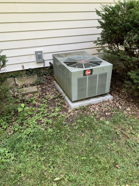 Worthington, OH - Provided an estimate to install new Carrier furnace and AC to replace Tappan furnace and Rheem AC. Pictured below is the current Rheem AC.