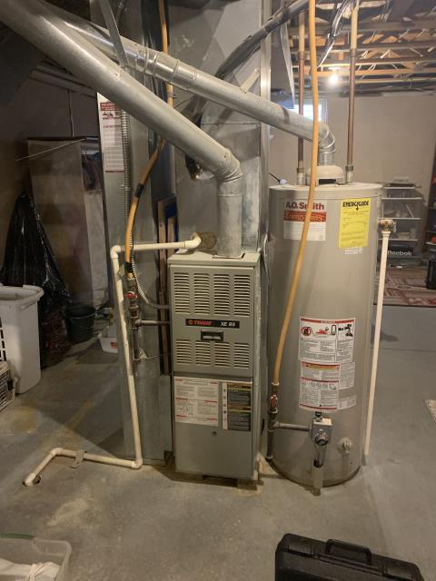 Lewis Center, OH - Upon arrival found the Trane system running. Furnace fired without issue. Found higher than normal amp draw on motor. Found capacitor reading zero Replaced cap I and tested motor. Found no issues with motor. System cycled on and off several times without issues. System operational on departure.