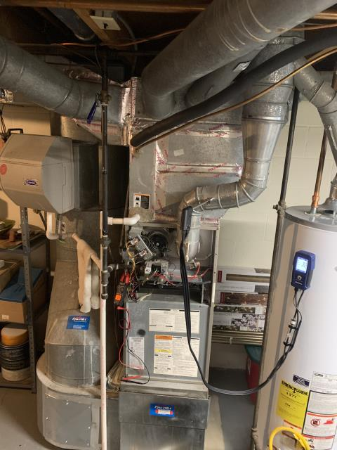 Galloway, OH - Found inducer making noise. Furnace passed combustion analysis. Bearing are failing on inducer motor. Also found small hole in flue piping. Quoted replacement and repair options. Customer is going to speak with wife about options.