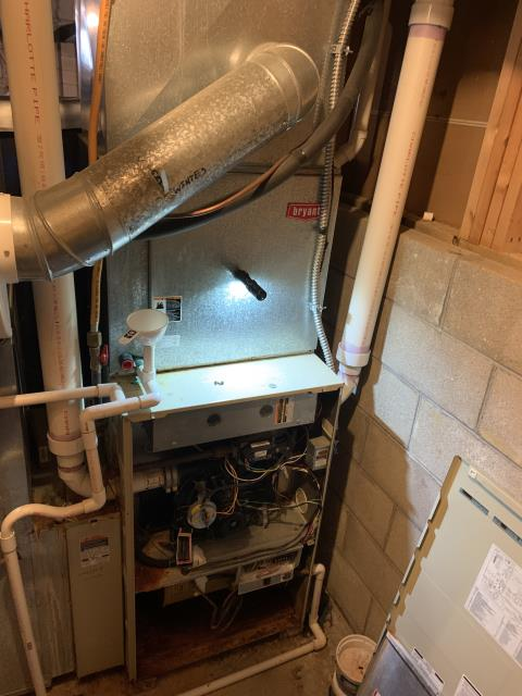 Lewis Center, OH - I performed a Diagnostic test on a Bryant furnace and found issues with the inducer motor, burner box, cabinet, and heat exchanger. I recommended the customer look into replacement options.