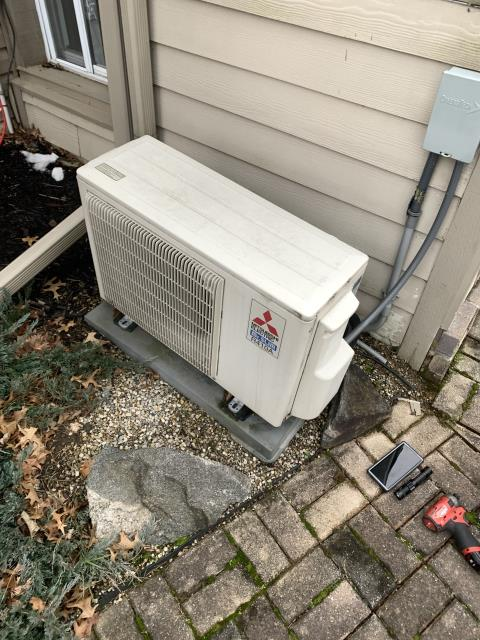 Westerville, OH - I completed a diagnostic on a Mitsubishi Slimline.  system shut down due to high discharge temperature. This with low delta t means refrigerant leak is present and needs to be corrected.  I gave the client an estimate to leak check system.  Client authorized repairs.  Return service is necessary to complete repairs.
