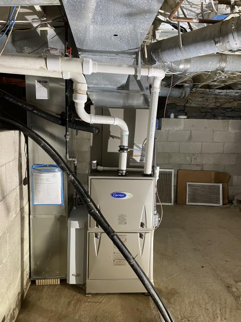 Delaware, OH - I performed an installation inspection on a Carrier 96% Two-Stage 100,000 BTU Gas Furnace. I replaced existing A/C breaker with correct size volt. Pulled new thermostat. System is operating normal at this time.