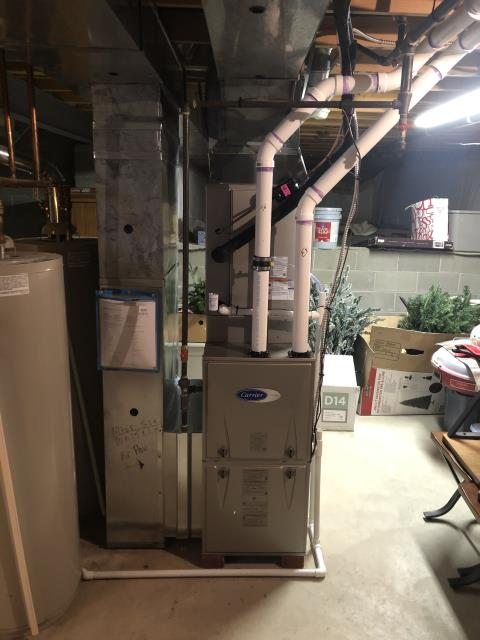 Westerville, OH - I installed a Carrier 96% Two-Stage 60,000 BTU Gas Furnace and a Carrier up to 17 SEER 2 STAGE 3 Ton Air Conditioner. Everything is working within manufacturers specifications at this time.