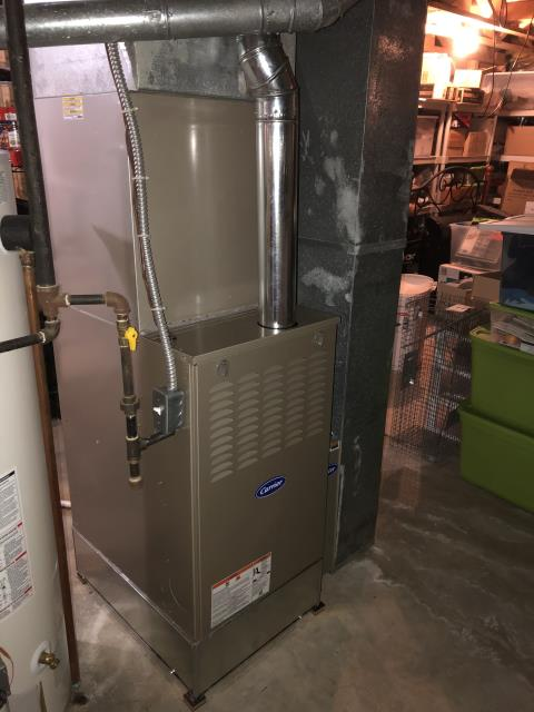 Dublin, OH - I installed a Carrier 80% 90,000 BTU Gas Furnace and a Carrier media cabinet. All readings are within manufacturers specifications at this time.