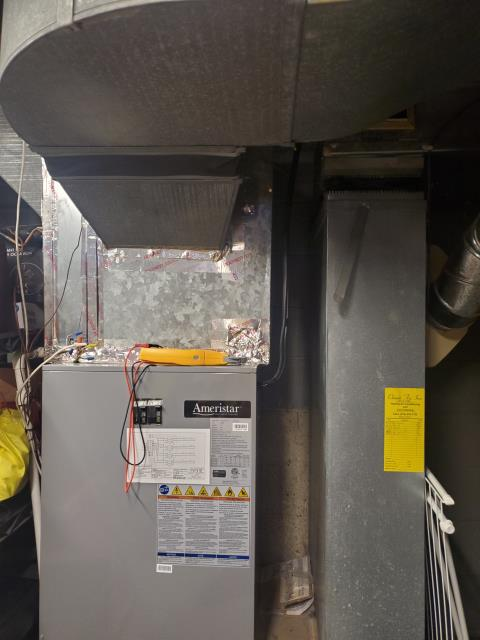 Dublin, OH - I found the board at the heat pump flashing code for high pressure fault. I confirmed low airflow due to filter being obstructed with drywall dust from painters in the home. I removed the filter and the 2018 Ameristar system is running without issue.
