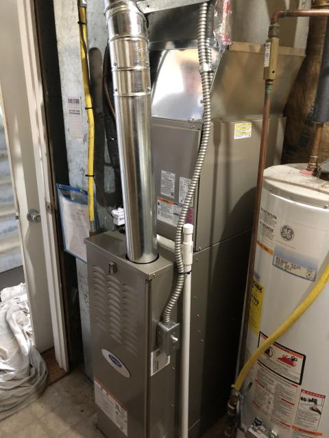 "Blacklick, OH - I installed a Carrier ""Infinity Series"" 80% 2 Stage Variable Speed 70,000 BTU Gas Furnace and a Carrier 2 Ton Performance 16 SEER. Equipment is set and customer is ready for the cooling season."