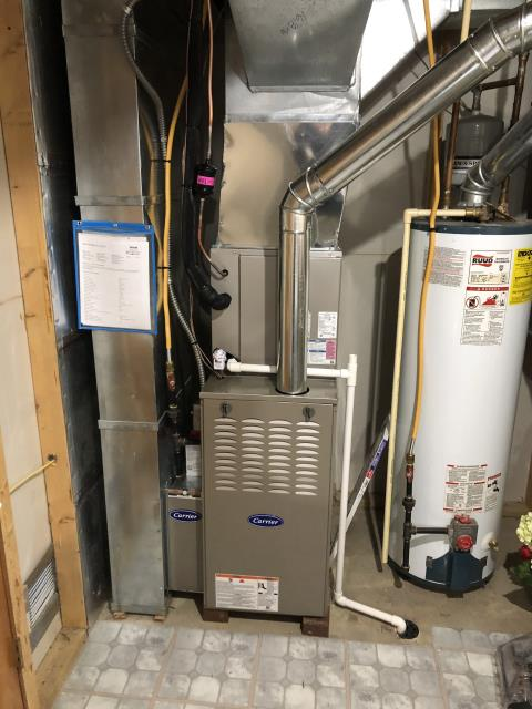 Delaware, OH - I installed a Carrier 80% 45,000 BTU Gas Furnace and a Carrier 16 SEER 2.5 Ton Air Conditioner. System is set and customer is ready for the cooling season