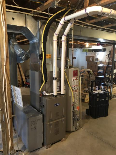 Blacklick, OH - I installed a Carrier 96% 60,000 BTU Gas Furnace and a Carrier 13 SEER 3 Ton Air Conditioner. System is set and customer is ready for the cooling season.