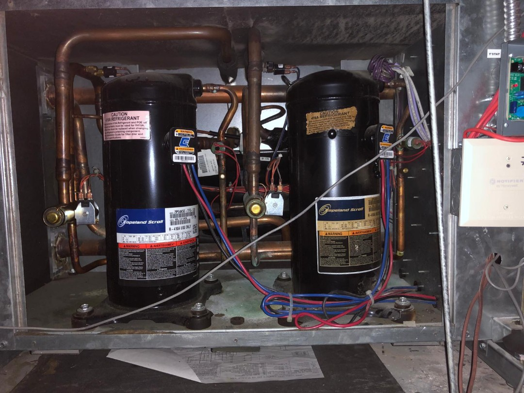 Union, NJ - Removed existing Carrier hvac compressor, replaced carrier compressor along with liquid line filter drier. Flushed out system with nitrogen , pulled a vacuum and charged the unit with R22 refrigerant. AC unit is cooling perfectly , commercial space already cooled down 10 degrees