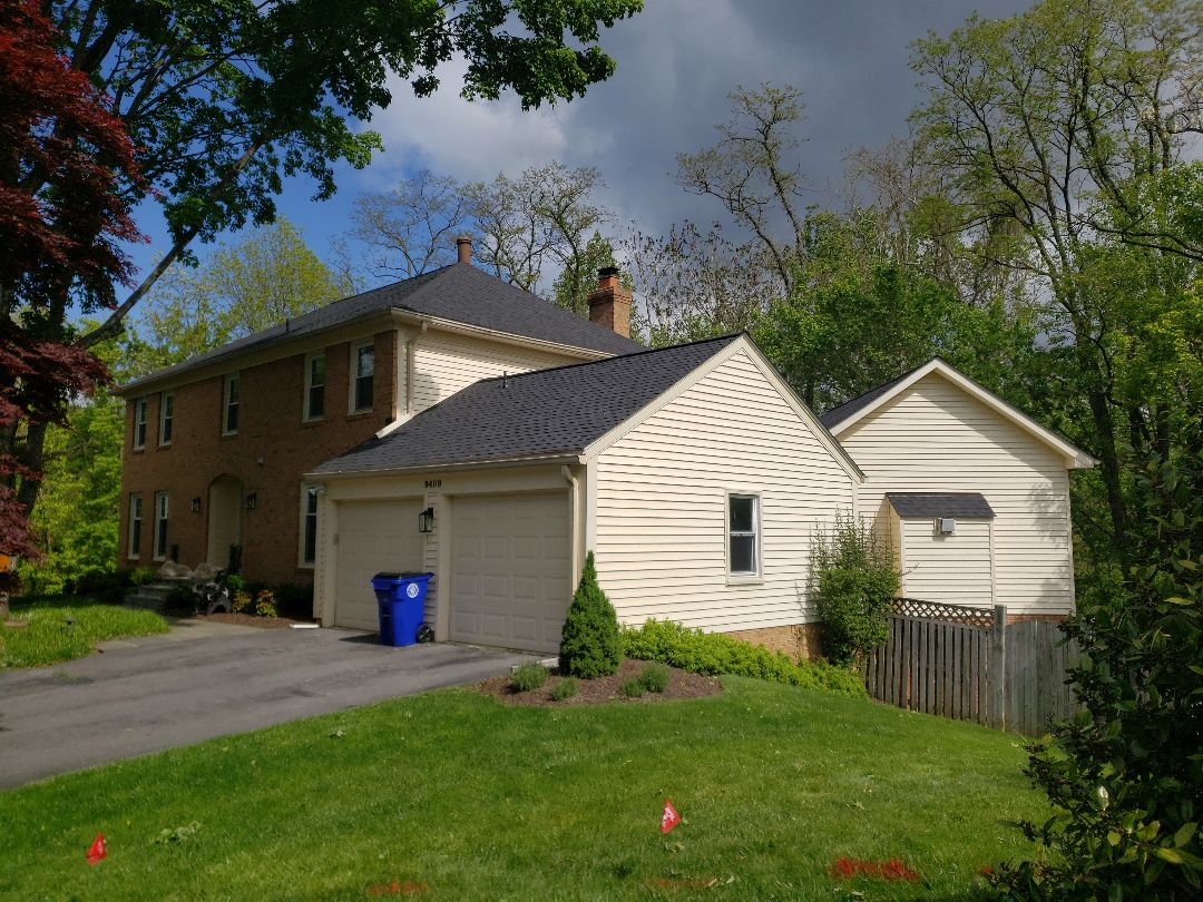 Rockville, MD - This roof needed updating so we replaced with certainteed 50 year architectural shingles. Winfield Builders is a certified select shingle master applicator so this homeowner received a certified 50 year warranted roof. Color, Charcoal Black