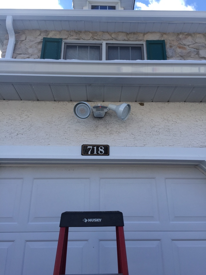 West Chester, PA - Electrician installation of Rab Led motion sensor security lights