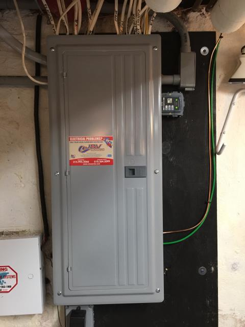 Nether Providence Township, PA - Electrician installation of 200 amp electrical service panel with whole house surge protection. Installation of new LED dimmer and energy efficient LED Bulbs.