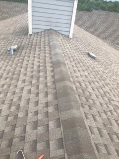 Tulsa, OK - Replaced 3 shingles- clubhouse, replaced 3 pipe flashings and 3 box vents, and replaced missing and damaged ridge