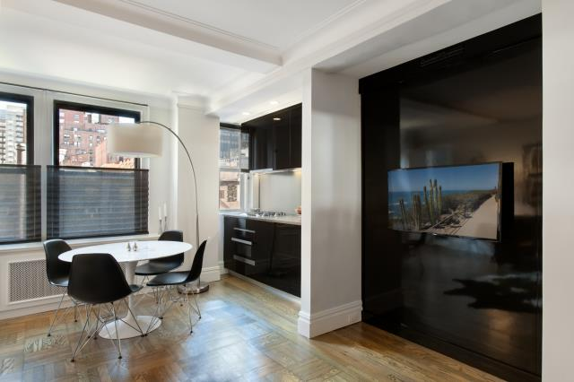 New York, NY - Refinished kitchenette and living space in this Murray Hill Studio