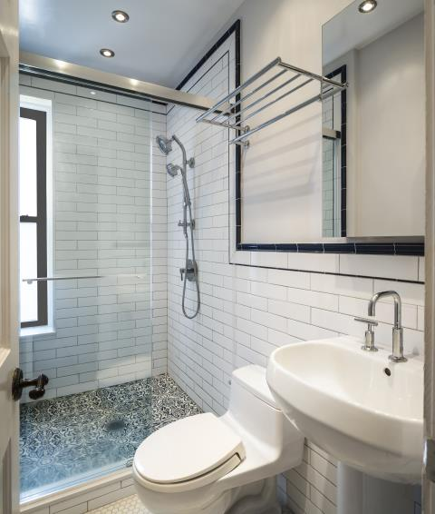 New York, NY - Bathroom Renovation project complete. Upper West Side NY. Standing shower and subway tile, Glass shower doors look better than ever.