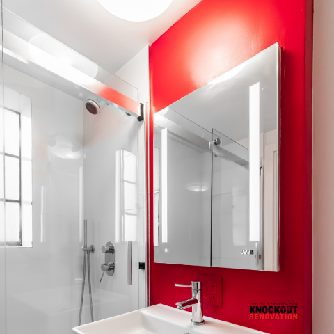 New York, NY - A lighter palette brightened up these formerly dingy spaces. MEdicine cabinets with integrated lights.
