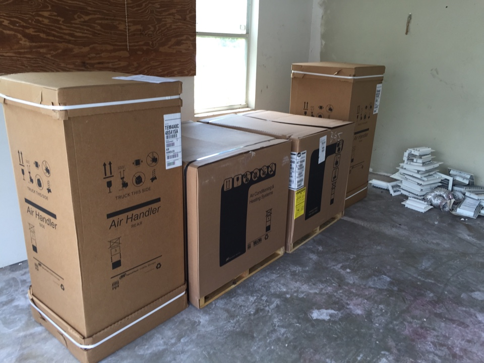 Parkland, FL - Installing two 4 ton Trane air conditioning system,at parkland