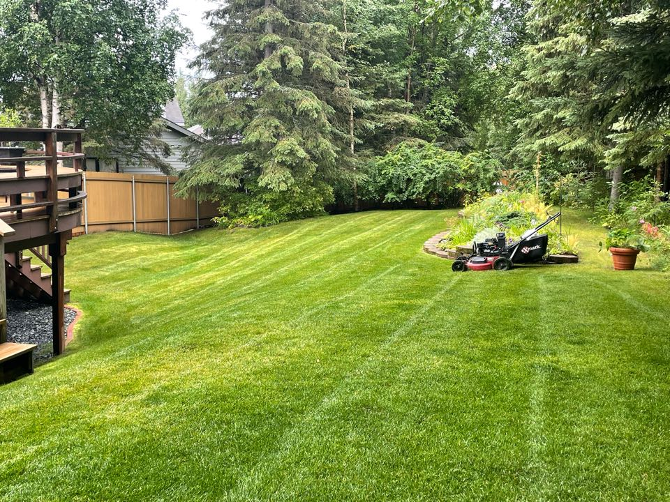 Anchorage, AK - Backyard goals! Another beautiful Tuesday to maintain some lawns in Kempton Hills!