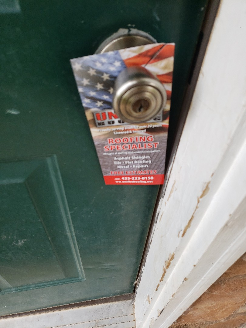 Enoch, UT - Roofing professionals, Unified roofing handles any types of materials, gutter, cheap repairs, and even does free estimates. #roofing #doorhangers