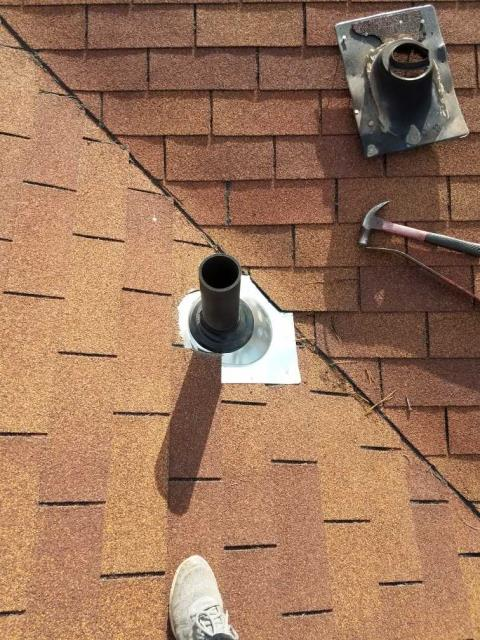 Bailey, CO - R&R roofing replaced this customer wind and sun aged pipe boot as well as some wind damaged shingles.