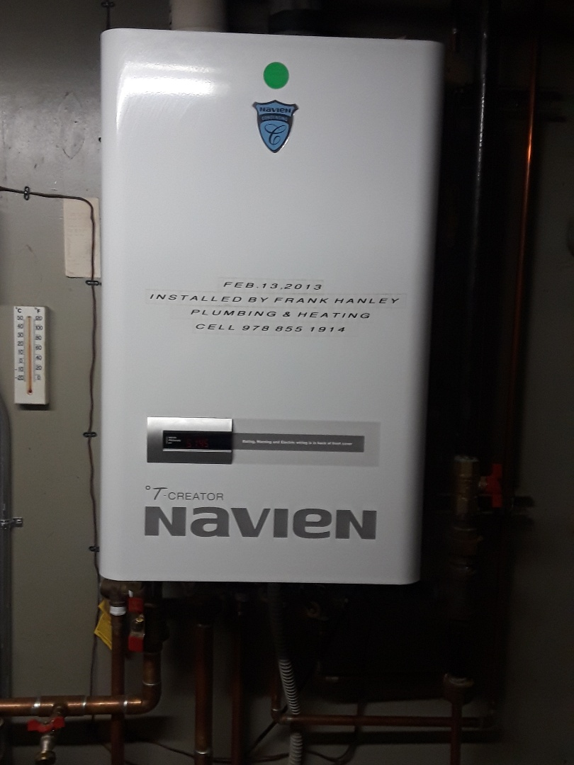 Clean and check Navien gas condensing boiler