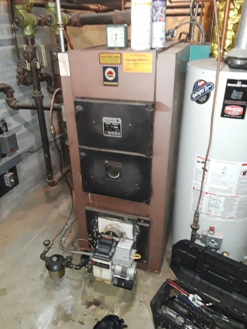 Clean and check American Standard oil boiler