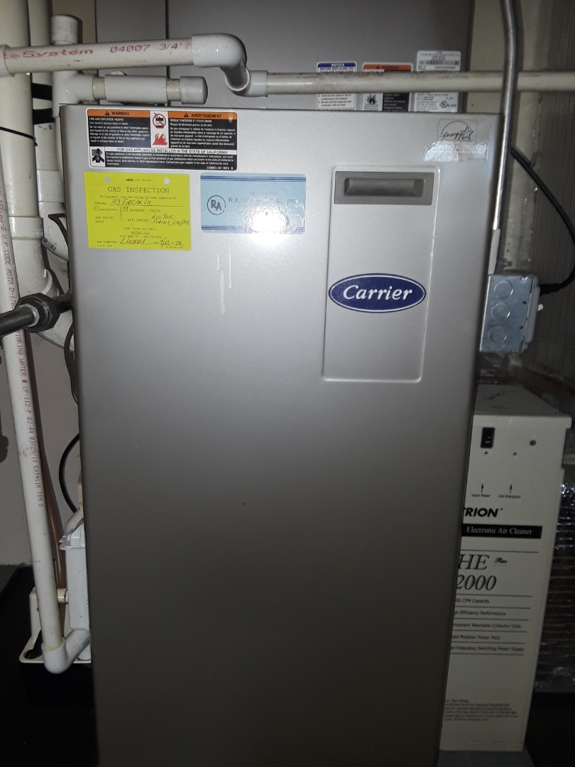 Clean and check Carrier gas heating unit