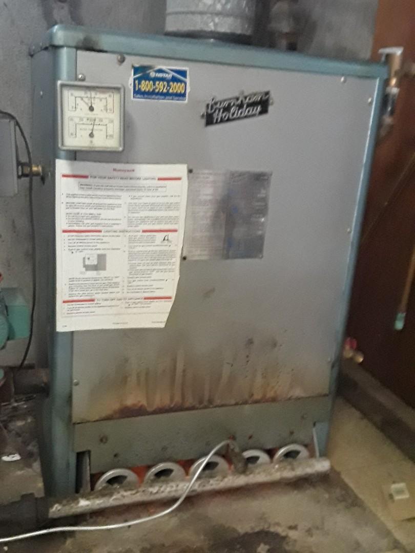 Clean and check Burnham gas boiler